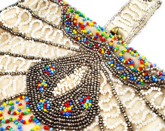 Gorgeous Seed Beaded Fabric Bag with Beaded Handle  and Brass Kiss Clasp. Red, Yellow, Blue, Gold and White Seed beads.