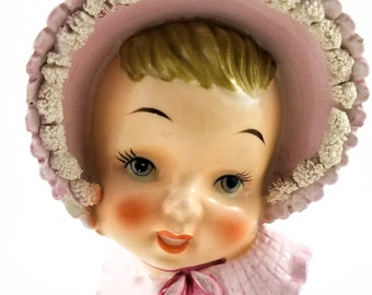 Vintage Baby head Vase with Pink Bonnet