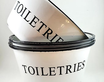 5 Large French Enamel Bowls in Black and White Labelled Toiletries. Good for Bathroom/Kitchen. In or Outdoors for serving or as Fruit Bowls