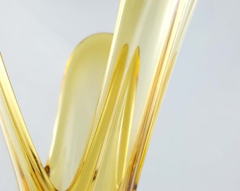 Czech Amber Glass Bud Vase