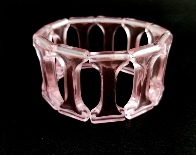 Awesome Acrylic pink tile Lucite Elasticized Bangle