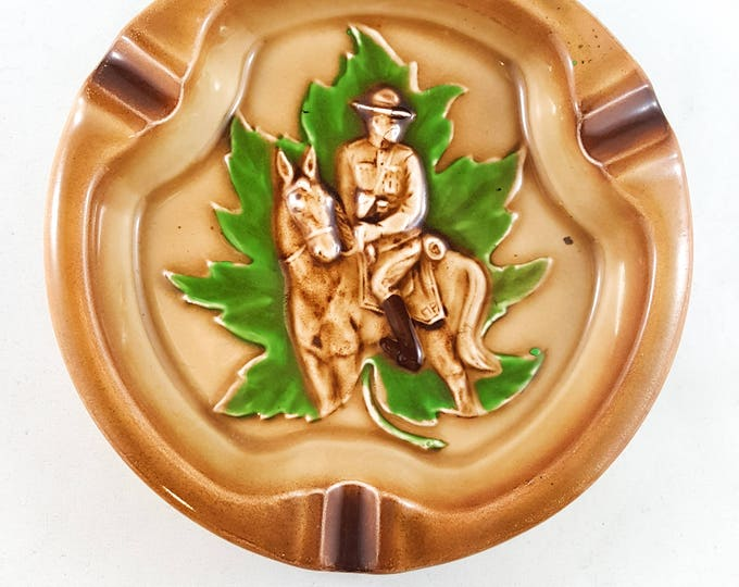 Beauty of a Mid Century Round Mountie Novelty Ashtray/Trinket Dish