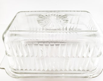 Glass BUTTER KEEPER - Heavy Clear Molded Glass - Pressed Glass Butter Dish
