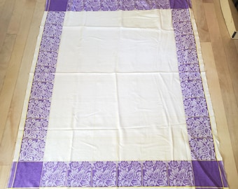 1950's Country Kitchen Cotton Tablecloth with Purple and Yellow Plaid Motif