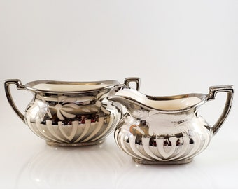 Vintage Gibsons 1930's Swirl Sugar Bowl & Cream in Silver and White with Floral Motif