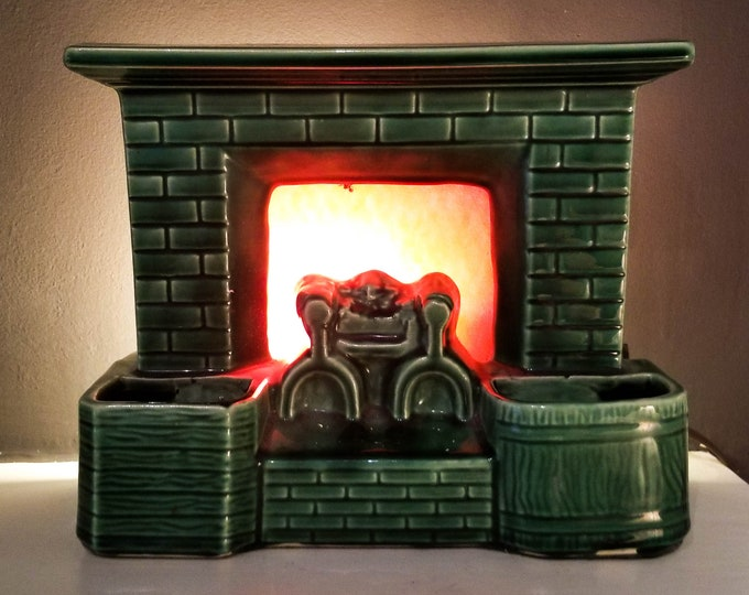 Green Ceramic Fireplace Television Lamp with Rear light and Red Glowing Flame Frame
