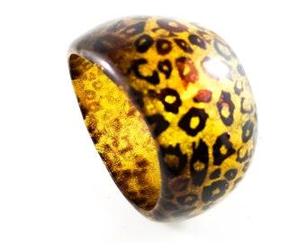 Fab Acrylic Leopard Asymetrical Acrylic Bracelet