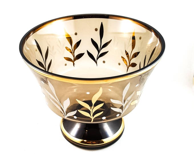 Stunning Hand Painted Gilded Glass Bowl