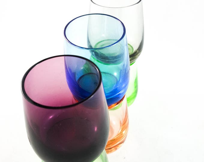 Mid Century multi colored Shot/Cordial Glasses