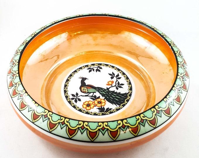 Stunning Czech Opalescent Orange Glass Bowl with Peacock Motif