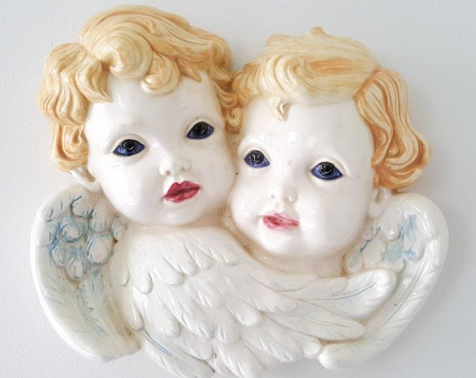 NEW PRICE Beautiful Hand Painted Ceramic Bisque Cherub/Angel Wall Decor