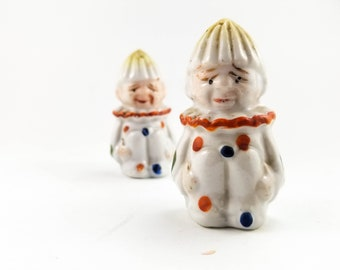 1950s Adorable Sad Clown Salt and Pepper Shakers