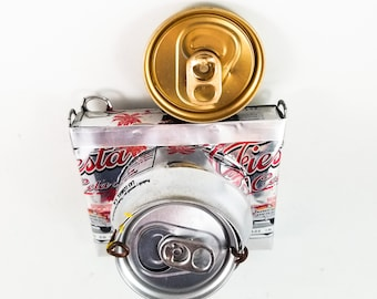 Toy Tin Camera made from Silver Pop Can with Spring Loaded Character that pops out when Shutter Lever is on Rea of Cr