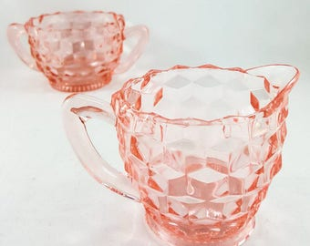 Elegant Depression Glass Cream and Sugar