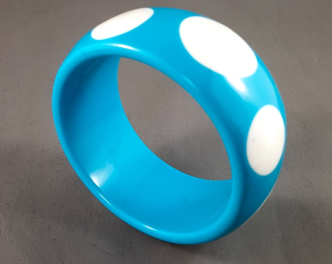 Fabulous Blue Polka Dot Lucite Bangle