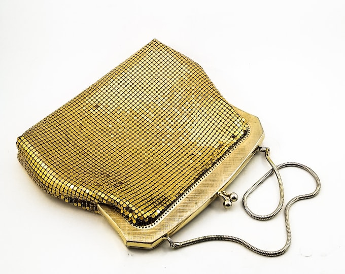 Gorgeous Vintage 1950's Gold MESH Bag with Chain