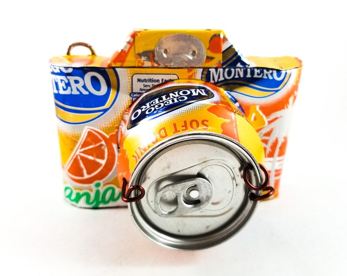 Toy Tin Camera made from Orange Soda Pop Can with Spring Loaded Character that pops out when Shutter Lever is pressed