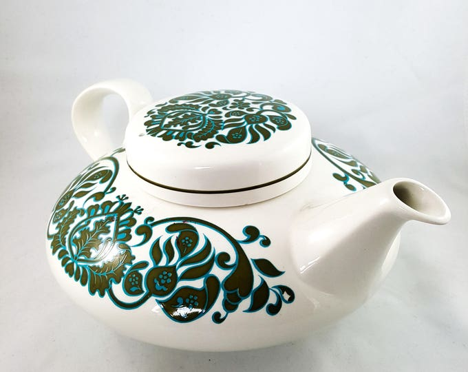 Green and Blue and White Low Profile Tea Pot Set in Martinique Pattern with 24 pieces