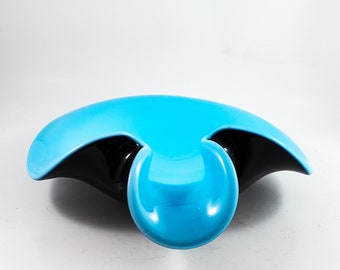 Gorgeous Rolled Murano Glass Biomorphic Ashtray, Candy Dish, Nut Dish, Fused Glass Dish  Housewarming Gift