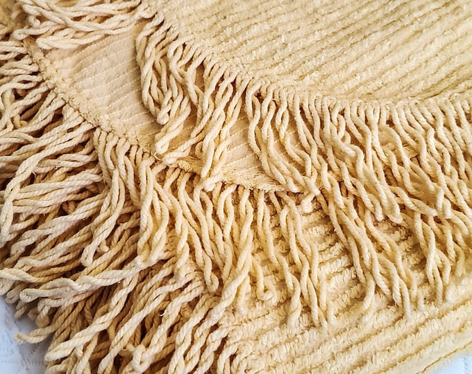 Gorgeous Yellow Colored Double Fringed Chenille Bedspread in Ribbed Pattern, Gabbel Italian Made