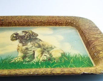 Vintage 1950's Tin Cocktail or Serving Tray with Seated Spaniel.