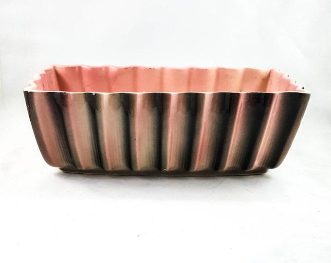Vintage Pink and Gray Rectangular Waved Planter