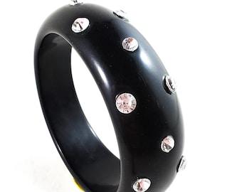 Stunning BLACK Acrylic/Bakelite Bangle Studded with Rows of Dazzling Rhinestones