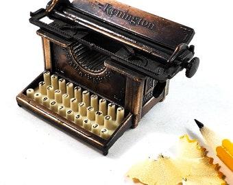 Miniature Bronze/Cast Iron Classic Remington Typewriter Pencil Sharpener. WORKS!