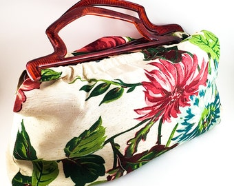 Fabulous Boho Fabric Purse with 1950's Vintage Floral Fabric Fabric and Acrylic Handles.