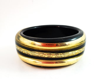Stunning Vintage Black and Gold Brass Bangle, 3 Brass Bangles Encased in Black Lucite,