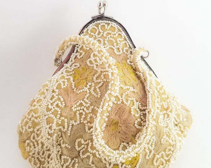 Magnificent Beaded and Embroidered Fabric Wedding Bag with Beaded Handle  and Brass Frame.