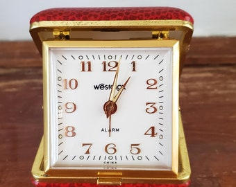 """RED Leather Travel Alarm Clock with pressed leather """"alligator"""" patterned  folding mechanical by Westclox"""