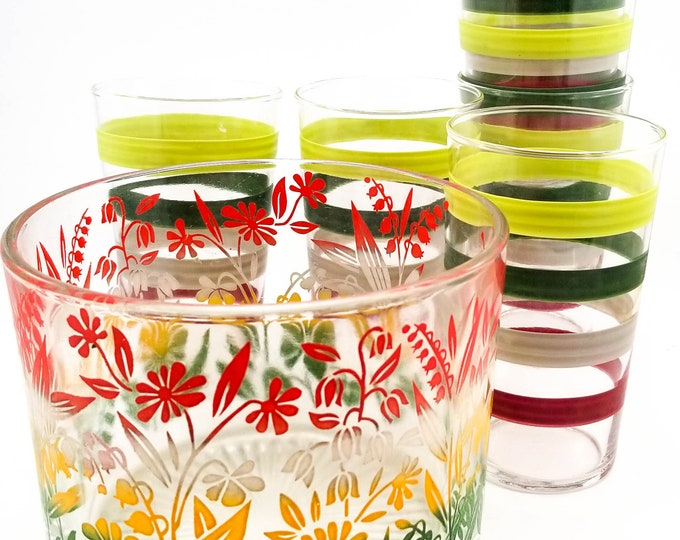 Fabulous MCM Anchor Hocking FIESTA BAND Stripes Bar Glasses in Red Yellow and Green with color matching Ice Bucket