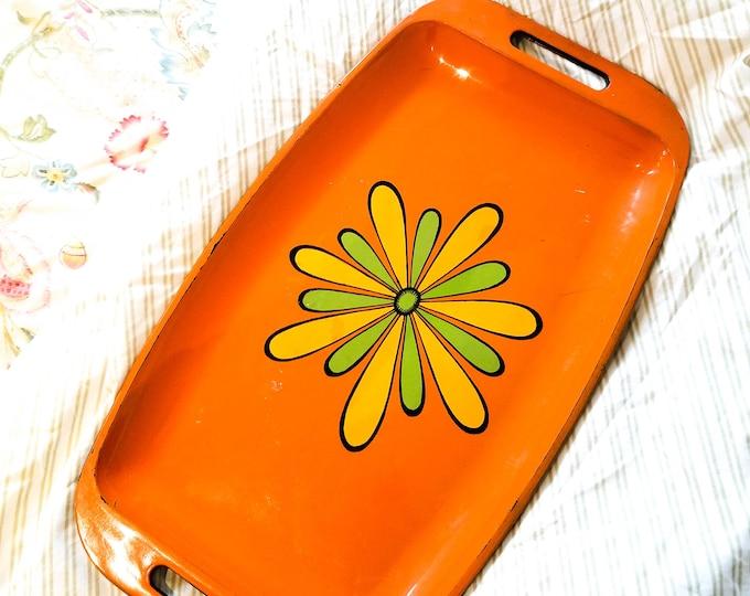 Vintage Mid Century Modern Orange 70's Hippy Tray/Platter with Floral Design