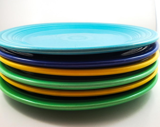 Set of 6 Fiesta Dinner Plates in Green, Yellow, Powder Blue and Cobalt