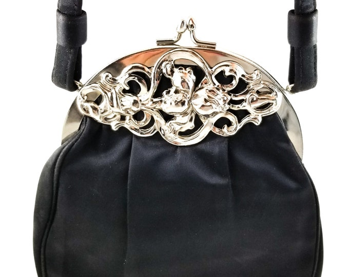 ca1034642580 Stunning 1960 s Vintage Art Deco Black Matte Satin Handbag with Ornate  Frontpiece and Kiss Clasp Latch