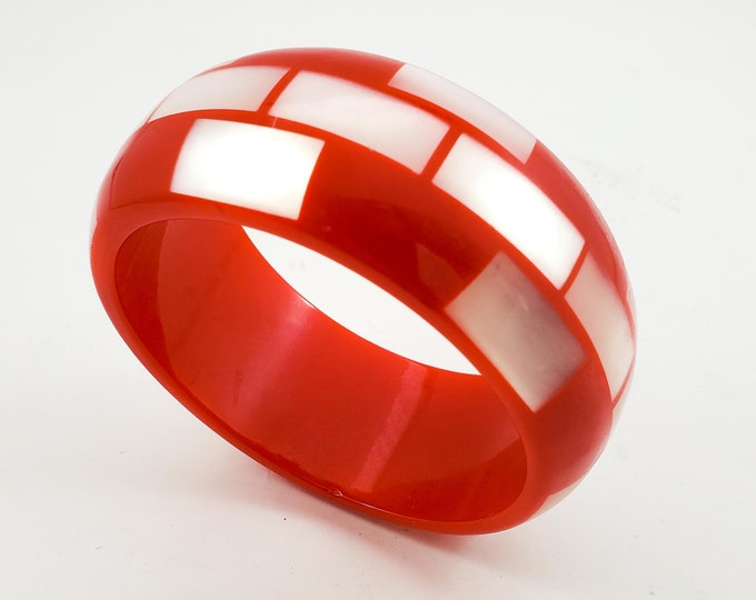 Beautiful Acrylic Red and White Bangle with Iridescent White Tiles