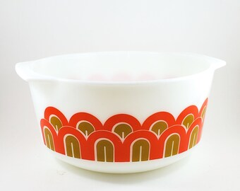 Vintage Pyrex Arches / Fish Scale / Eames (Pattern 344, 1971) 3 Quart Straight Side Mixing Bowl - Unused Condition