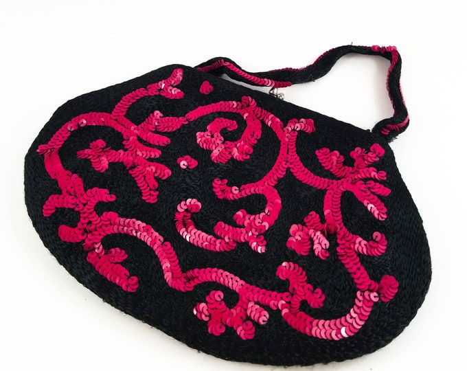 Magnificent Black Embroidered Hand Sequinned Black Evening Bag with Deep Red Sequins
