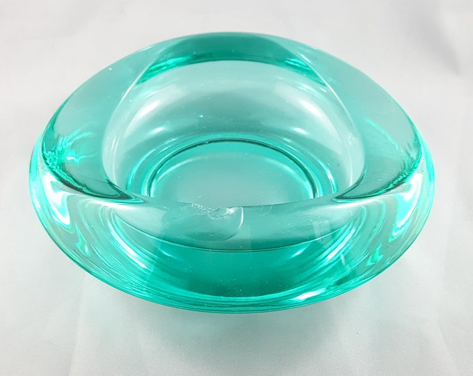 Blown Art Glass Green Clear Cased Candy, Nut or Trinket Bowl