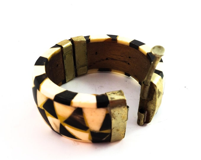 Beautiful Wood, Silver and Faux Bone Hinged Bracelet with Pin Closure