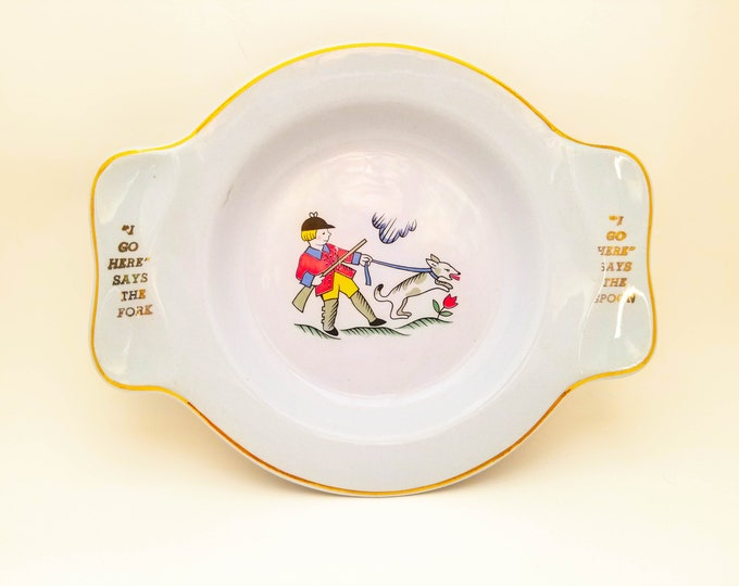 Children's Supper Bowl with Picture and Spoon and Fork Rest