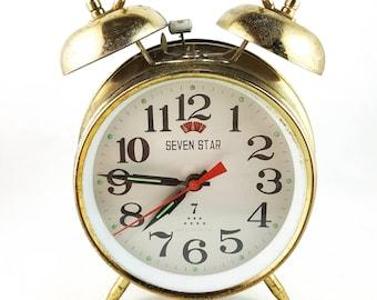 Seven Star Monogram Silver Bell Alarm Clock