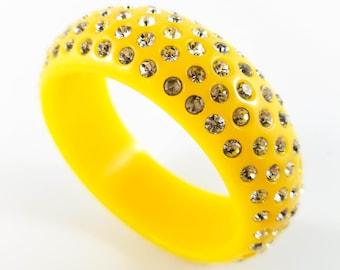 Stunning Yellow Acrylic Bangle Studded with 5 Rows of Rhinestones