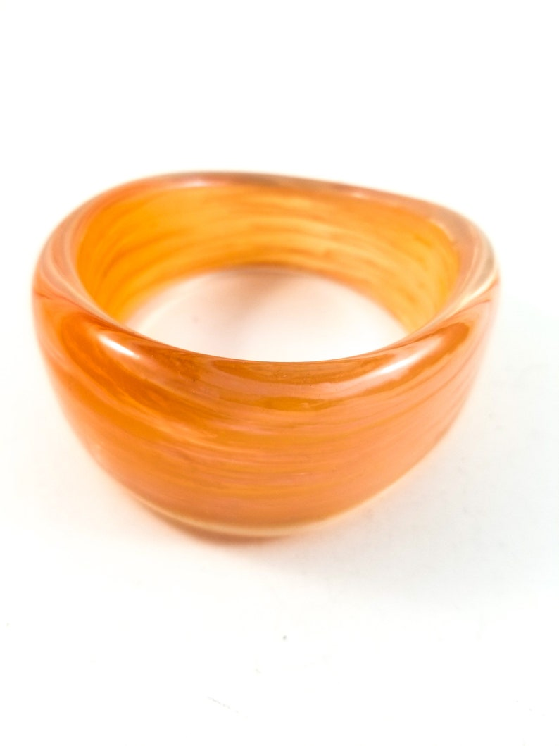 Gorgeous Acrylic Bangle in Pinky Peach with Creamy swirling and striations