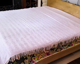 Gorgeous Baby Pink  Colored Double Fringed Chenille Bedspread in Ribbed Pattern,