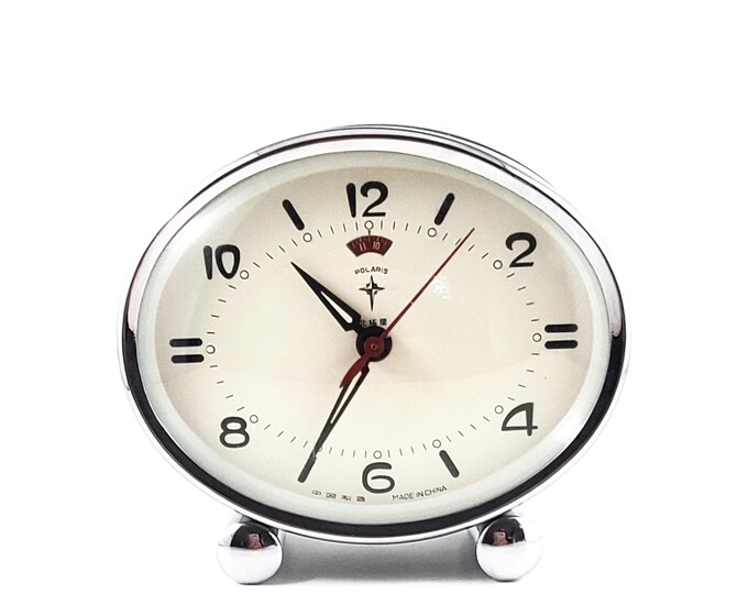 VINTAGE Polaris Wind up Alarm Clock, Vintage Polaris Mechanical Alarm Clock - Black and Chrome Analog