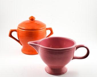 Fiesta Ceramic Pink and Bright Orange Cream and Sugar Set, Fiestaware, HLC, Homer Laughlin
