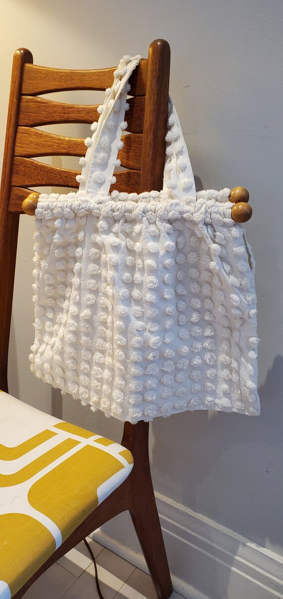 Fabulous Boho White Chenille Fabric Purse with 195