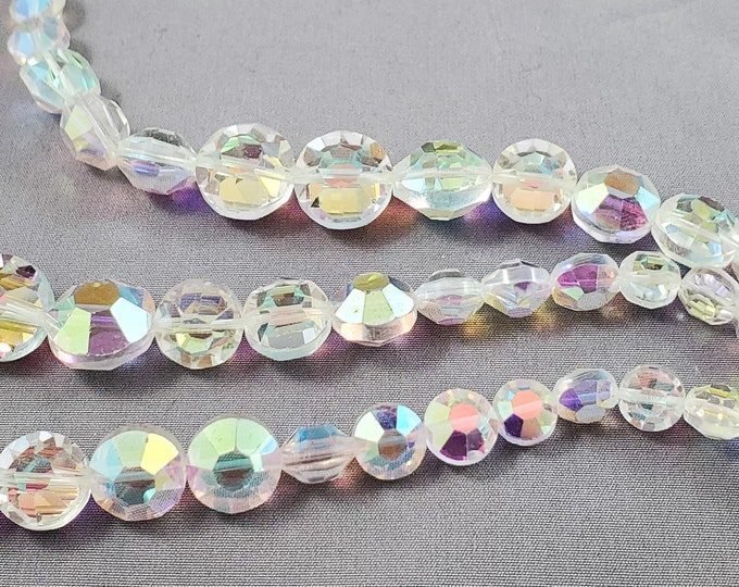 Gorgeous Brilliant Iridescent White and Clear Acrylic Triple String Beaded Necklace with Hook Clasp